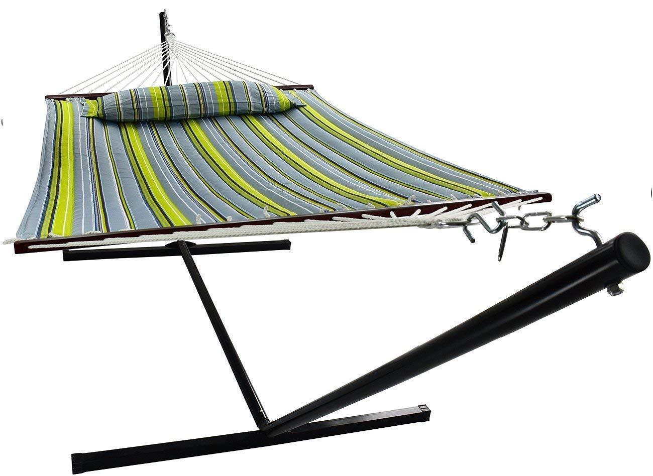 VITA5 Fino a 2 persone//200 kg Blu Scuro//Verde Scuro Cuscino Rimovibile 190x140 Amaca con Supporto Resistente ad Agenti atmosferici e Raggi UV