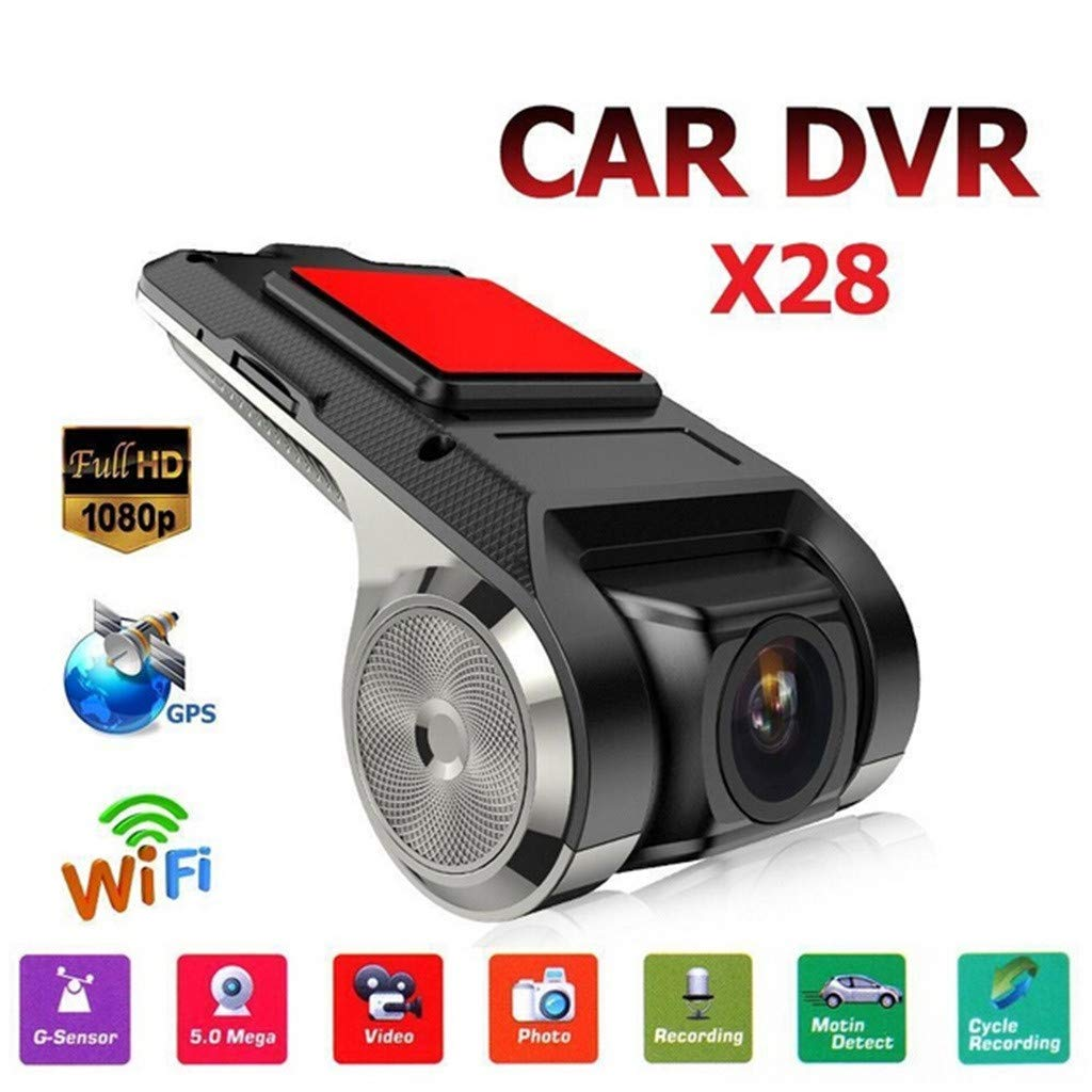 Sonmer X28 1080P FHD Car DVR Camera,Built-in Mic, With GPS WiFi ADAS G-sensor Picture-in-Picture Motion Detect Cycle Recording Video Photo