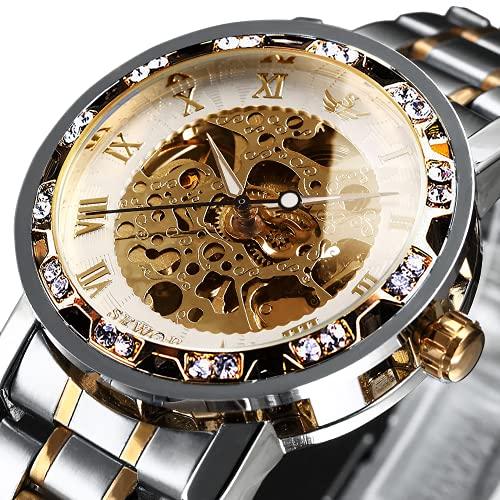Relojes, Relojes de los Hombres Mecánica de Cuerda de Mano Esqueleto Clásico de la Moda de Acero Inoxidable Steampunk Vestido Reloj