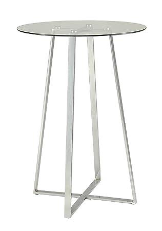 Glass Bar Table Chrome and Clear