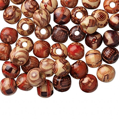Hand Painted Wood Beads (Bead mix wood (coated) multicolored 10mm hand-cut round with painted pattern)