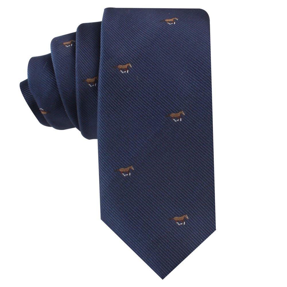 Horse Racing Tie   Gift for Men   Work Ties for Him   Birthday Gift for Guys (Brown Horse)