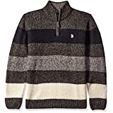 U.S. Polo Assn. Men's All Over Striped Mohair-like1/4 Zip, Jet Marl, X-Large