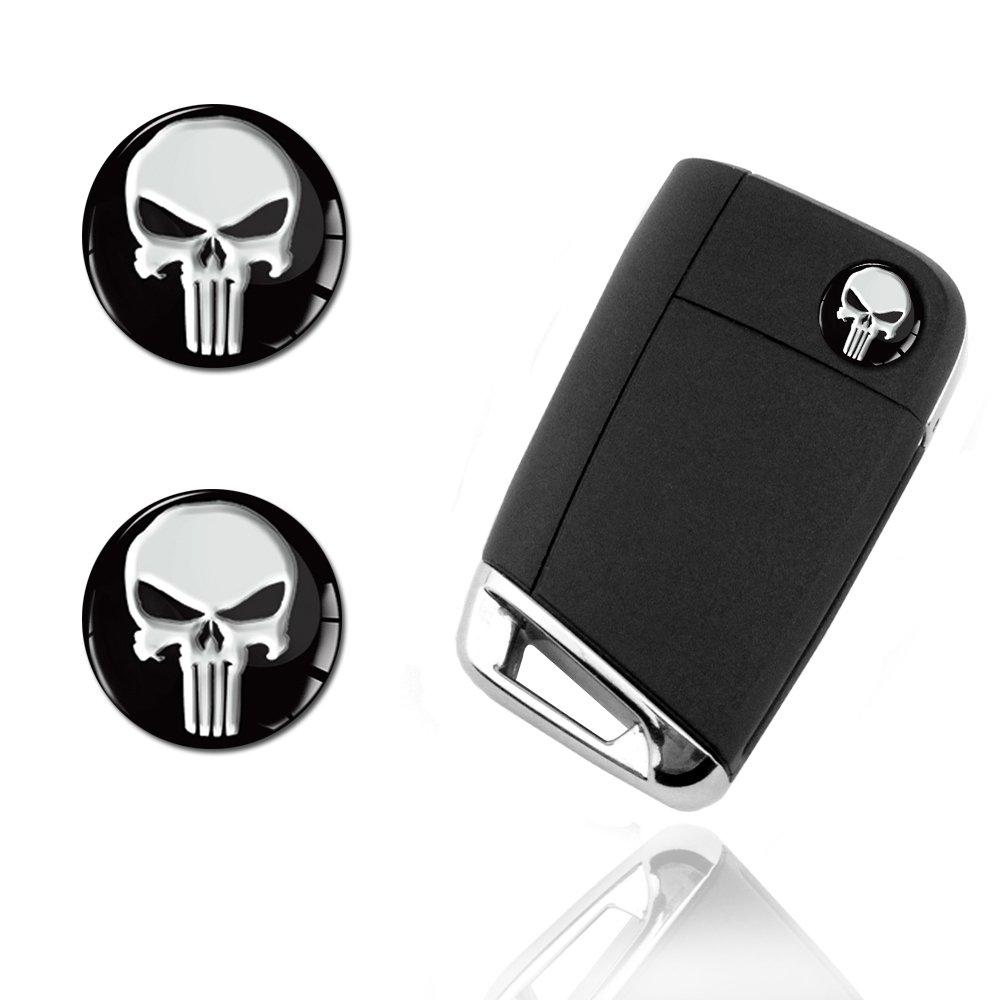 motif /«The Punisher/» Skino Lot de 2 autocollants 3D en r/ésine silicone pour cl/é de voiture//cl/é de moto//badge//t/él/écommande KS161