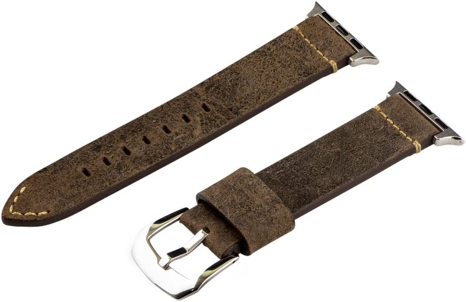 Clockwork Synergy - Dapper Collection Leather Watch Bands for Apple (38mm Suede Autumn Brown Bands/Steel Buckle)