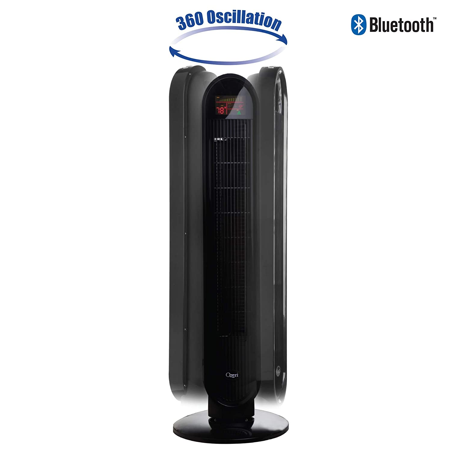 with Bluetooth and Micro-Blade Noise Reduction Technology OZF5-BT Ozeri 360 Oscillation Tower Fan
