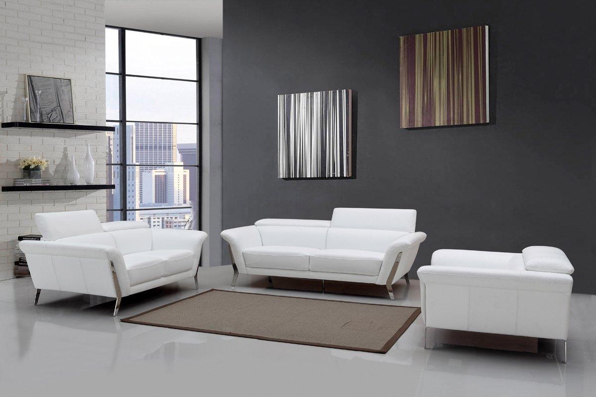- Amazon.com: Divani Casa Ronen Modern White Leather Sofa Set White