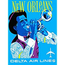 VINTAGE TRAVEL AMERICA AIR LINE NEW ORLEANS JAZZ ART POSTER PRINT 18x24 INCH LV4987