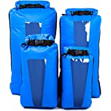 AquaQuest Sea View Dry Bags - 5, 10, 20, 30L or 4 Pack Value Set Waterproof Drybags - Clear Window, Lightweight, Roll Top - B