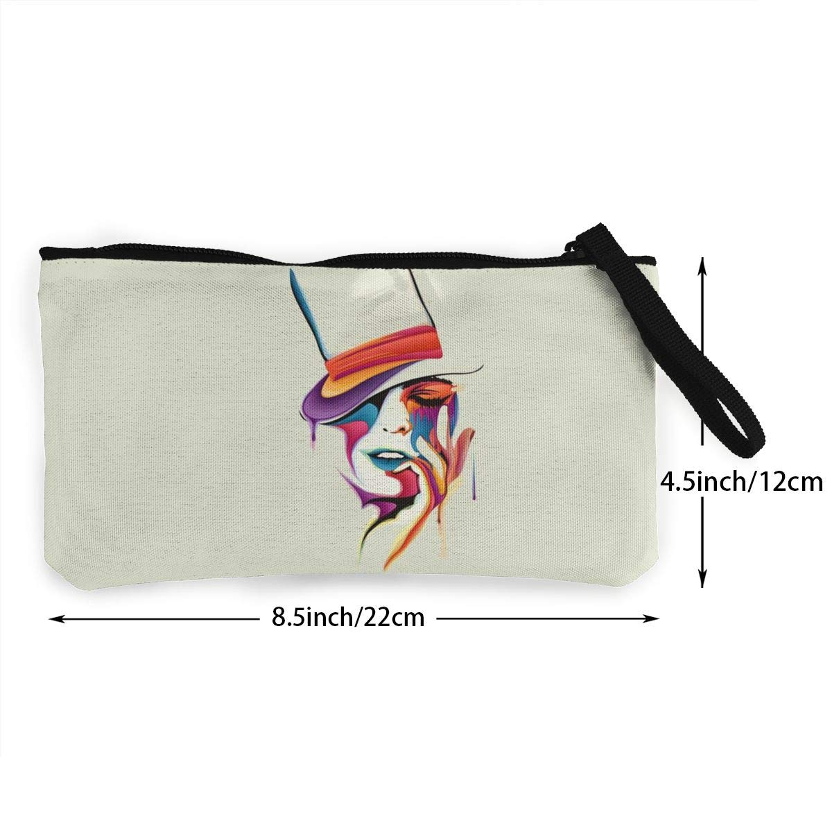 Abstract Woman Zipper Canvas Coin Purse Wallet Cellphone Bag With Handle Make Up Bag