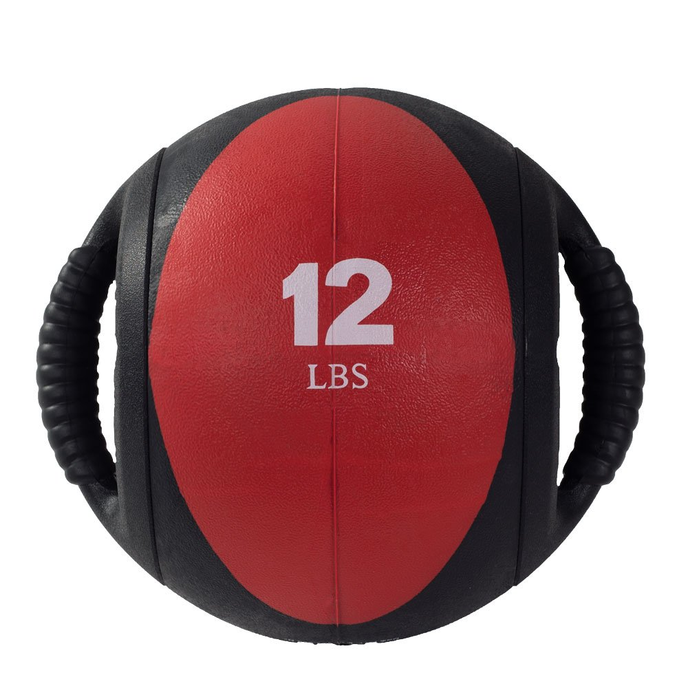 Power Systems CorBall Plus, Medicine Ball with 2-Handles, 9 Inch Diameter, 12 Pounds, Red (28312)