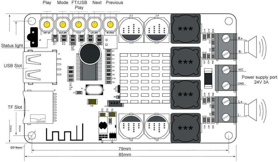 Remote Control TE816 TPA3116 2x50W Bluetooth Digital Amplifier Board TF USB