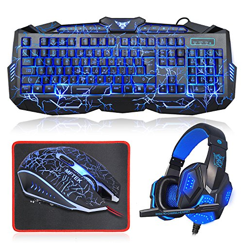 Gaming Keyboard and Mouse Combo with Headset, MFTEK LED Backlit Glowing Keyboard, Wired Voiceless Gaming Mouse, Lighted Over-ear Headphone with Microphone Set+ Customized Mouse Pad for PC Game