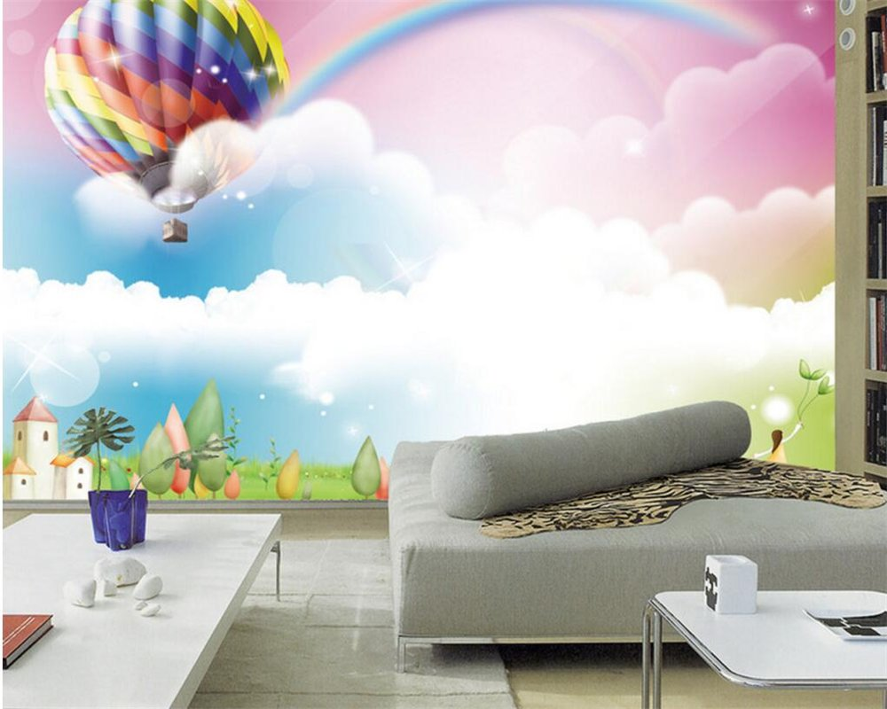 BZDHWWH Custom Large Wallpaper Flower Dream Hot Air Balloon Rainbow Photo Wallpaper Cartoon Children Room 3D Wallpaper Murals,50Cm (H) X 70Cm (W)