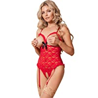 Magic Silk Santa Open Cup Crotchless Teddy Set, Red Lace Teddy Set