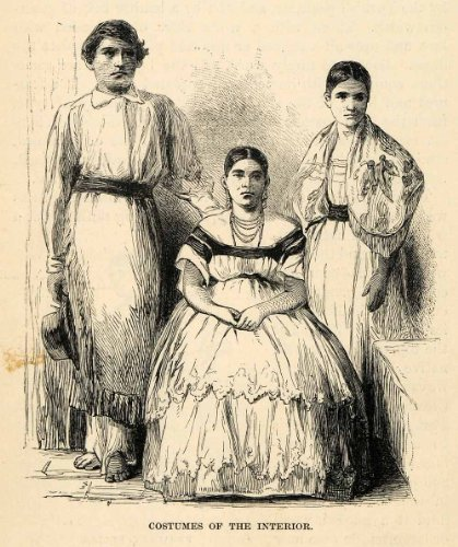 1888 Wood Engraving Costume Interior Dress Fashion Paraguay South America Child - Original In-Text Wood Engraving