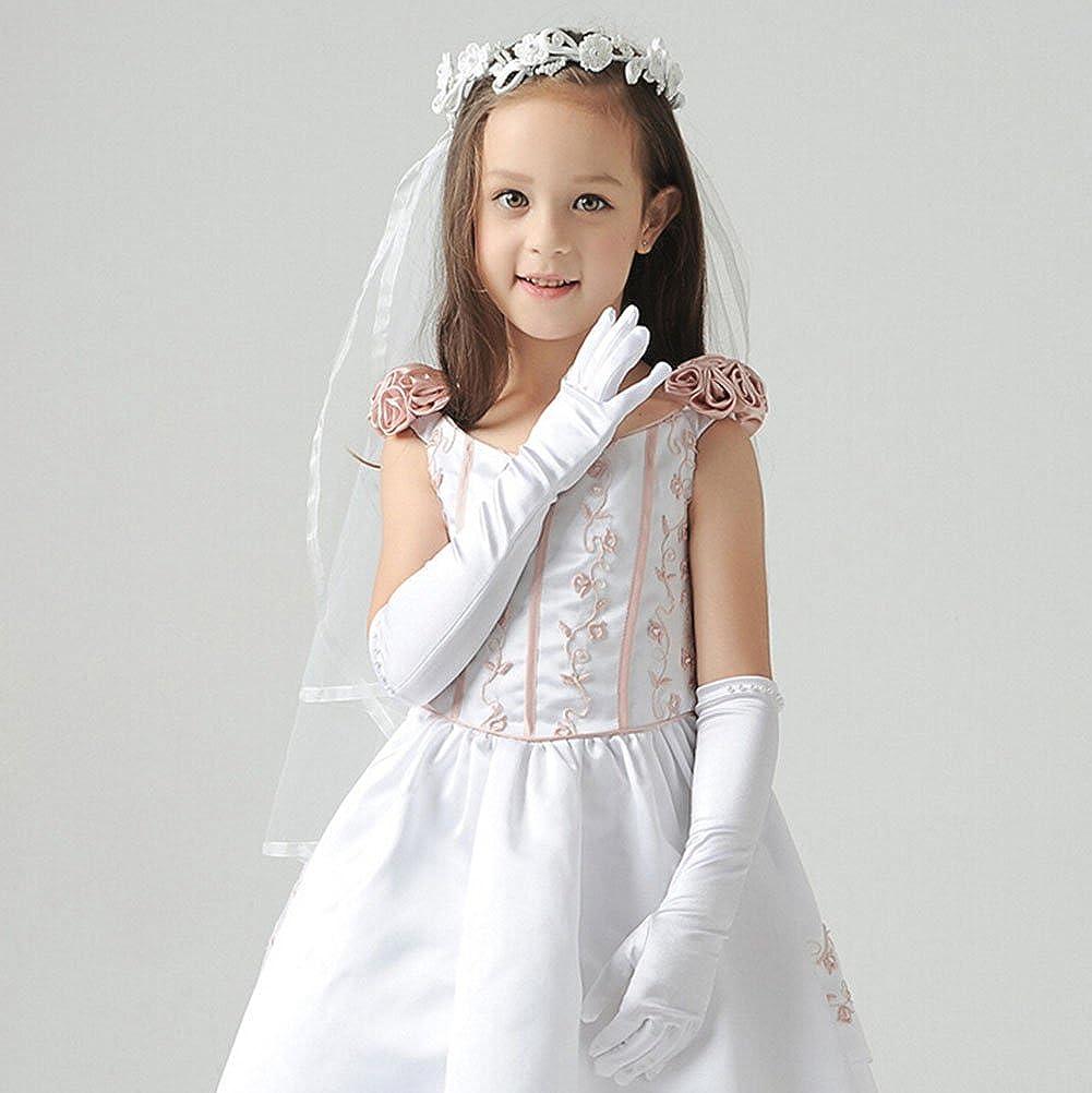 WeiMay Gants de Mariage Gants Blanc pour Mariage C/ér/émonie Gants de Enfant 8 /à 14 Ans 1 Paire Blanc