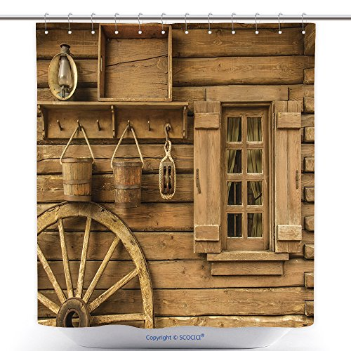 Funny Wild West Costume Ideas (Antibacterial Shower Curtains Detail Of Old Wagon Wheel Next To A Wooden Wild West Typical House_29460825 Polyester Bathroom Shower Curtain Set With Hooks)
