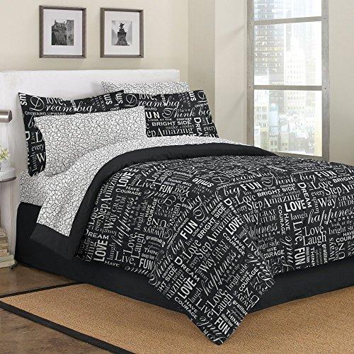 First At Home Live Love Laugh Comforter Set, Full, Black