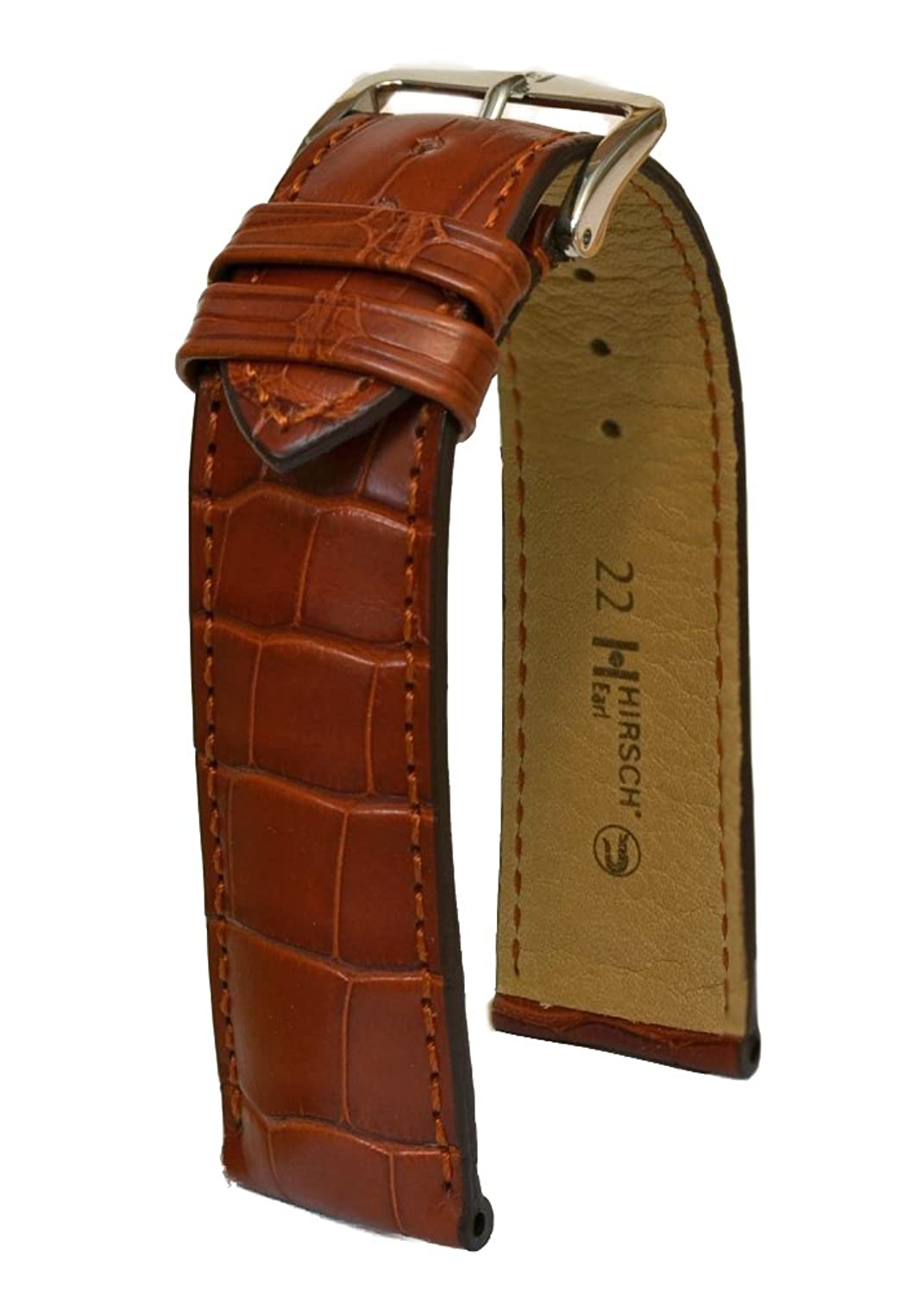 Hirsch 'earl'20 mm - L - Golden Brown Alligator Lederarmband Schnalle 04707079-1-20