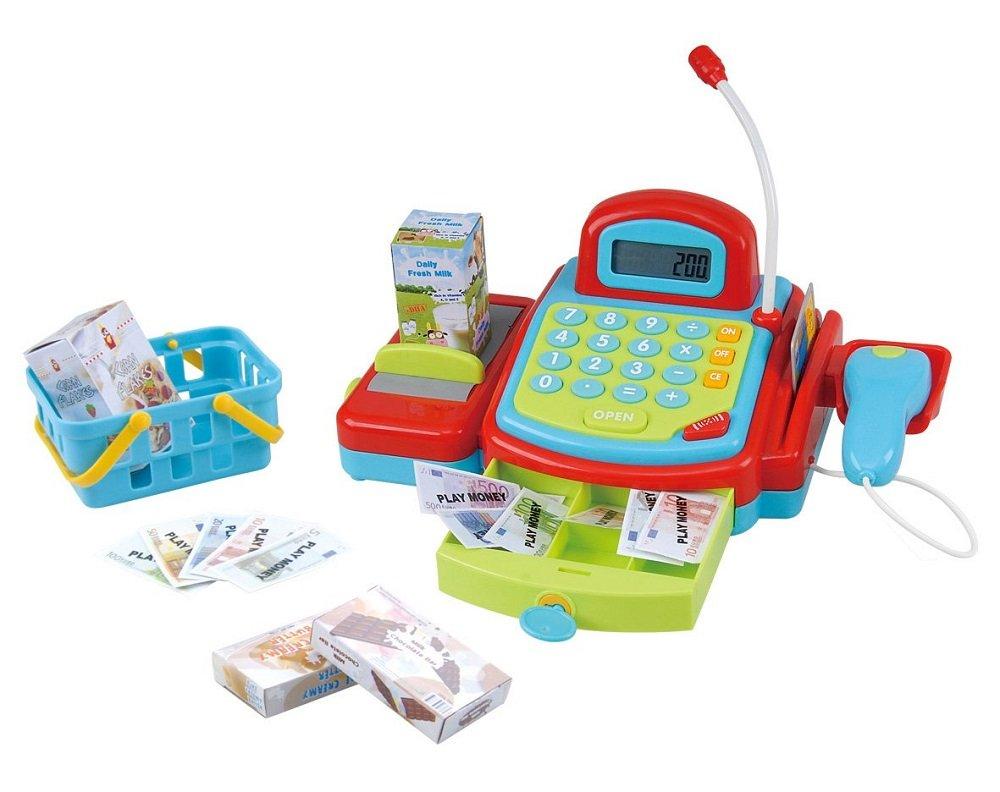 Playgo Caja con cinta transportadora manual calculadora electrónica tarjeta de crédito y