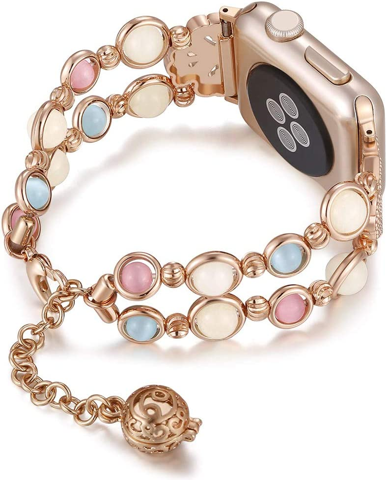 Jewelry Bracelet Watchband Compatible with Apple Watch Wristbands 38mm/40mm Series 5/4/3/2/1, Night Luminous Watch Band for Iwatch Strap with Perfume Storage Wrist Size 5.5-7 inch (Rose Gold)