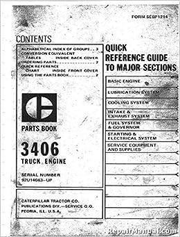 R-CT-P-3406-92U14 Caterpillar 3406 Diesel Engine Parts Manual: Publisher:  Amazon.com: BooksAmazon.com