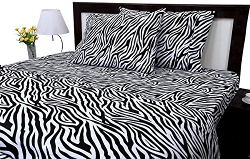 American Club Bed Sheet Set Queen - Animal Print Zebra 400 Thread Count 100% Cotton 15-inch Elastic Deep Pocket Fitted Sheet.