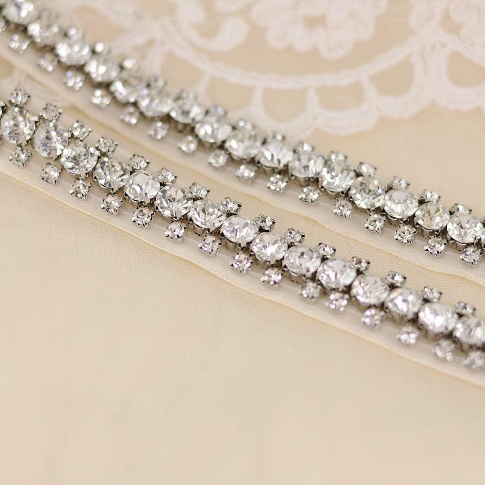 Azaleas Womens Stunning Crystal Thin Wedding Dress Sash Belts Bridal Belt Sashes for Wedding Dress