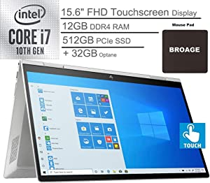 "2020 HP Envy x360 2-in-1 15.6"" FHD Touchscreen Laptop Computer, 10th Gen Intel Quard-Core i7 1065G7 up to 3.9GHz, 12GB DDR4 RAM, 512GB PCIe SSD + 32GB Optane, WiFi 6, Windows 10, BROAGE Mouse Pad"