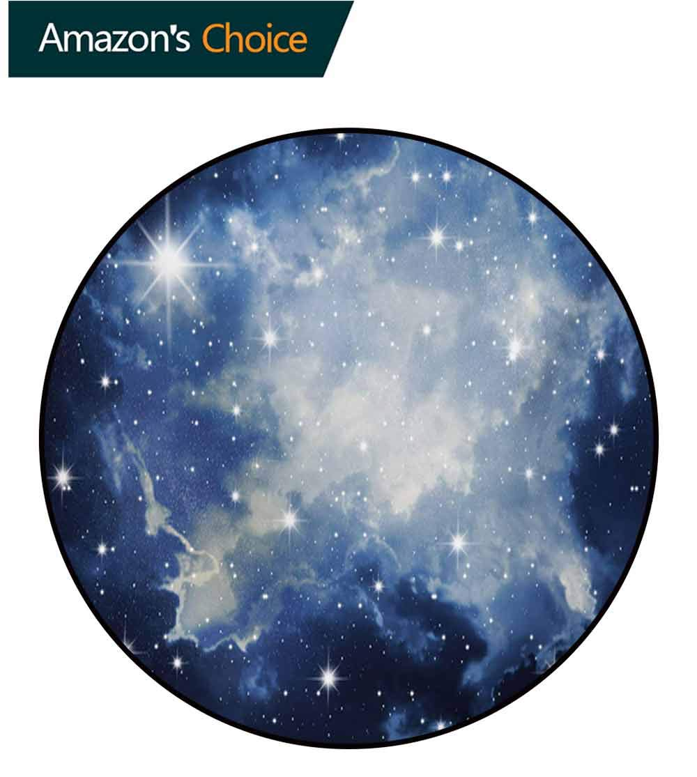 Constellation Machine Washable Round Bath Mat,Blue Galaxies In Night Sky Celestial Image Stars Fog Magical Non-Slip No-Shedding Bedroom Soft Floor Mat,Diameter-71 Inch Dark Blue Pale Blue White by RUGSMAT (Image #1)