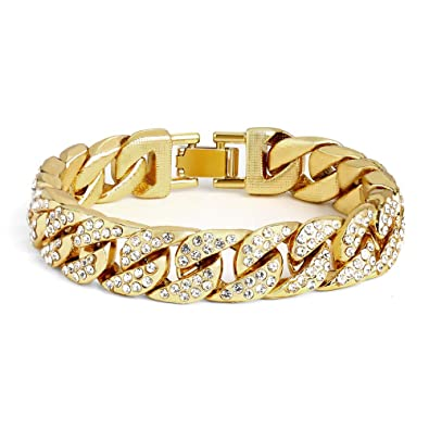 Amazon Com Cuban Link Bracelet For Men Sterling Silver 13mm Diamond