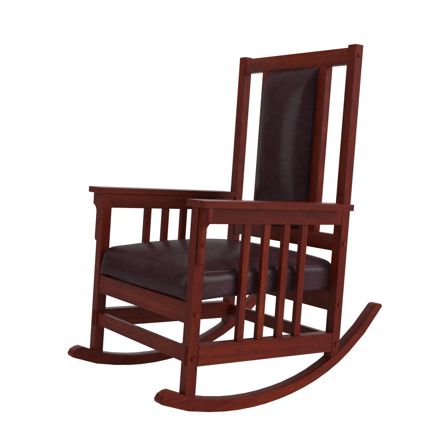 Amazon Coaster Mission Style Rocking Wood and Leather Chair