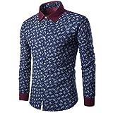 kaifongfu Shirt Mens, Casual Long Sleeve Shirt Business Slim Fit Print Blouse Top (M, Navy)