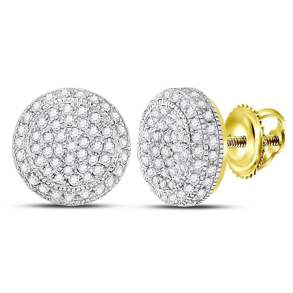 10k Yellow Gold Mens Round Diamond Circle Earrings Studs 5/8 Ct.