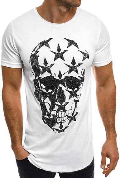 Camisetas Hombre, SHOBDW Camisetas De Impresión De Verano Camisa Blanca De Manga Corta Cuello Redondo Suelta Más Tamaño Camiseta De Gran Tamaño Blusa Tops para Hombres: Amazon.es: Ropa y accesorios