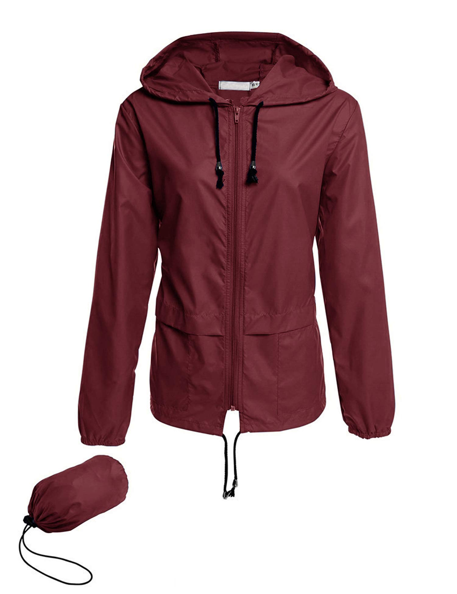 Avoogue Rain Jackets Women Lightweight Waterproof Raincoat Packable Outdoor Hooded Windbreaker Slim Fited Jackets(Wine Red S) by Avoogue