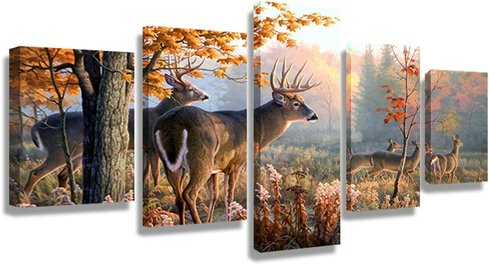 CrmArt 5 Panel Wall Art Painting Whitetail Deer in Autumn Sunlight Forest Pictures Prints On Canvas Animal For Home Modern Decoration Office Bedroom Kitchen Bathroom (50