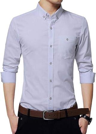 AIYINO Camisa de manga larga de algodón para hombre con bolsillo ...