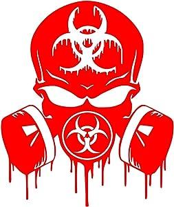 Red Skull Dripping Biohazard Respirator Decal Vinyl Sticker Graphics UR Impressions Cars Trucks SUV Vans Walls Windows Laptop RED 5.5 X 5 Inch URI349-R