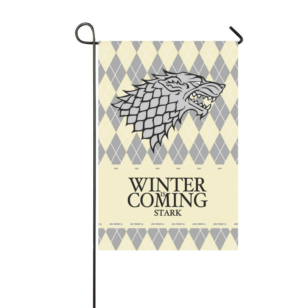 Game of Thrones Flag - Stark Family Winter Is Coming 12 x 18 in - Printed on Both Sides - Great Gift for GOT fan - Man Cave Decor - Durable Banner for Outdoor Conditions