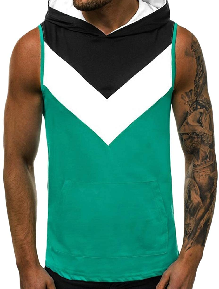 ZXFHZS Mens Casual Athletic Sleeveless Color Block Pullover Hoodie Vest Tops