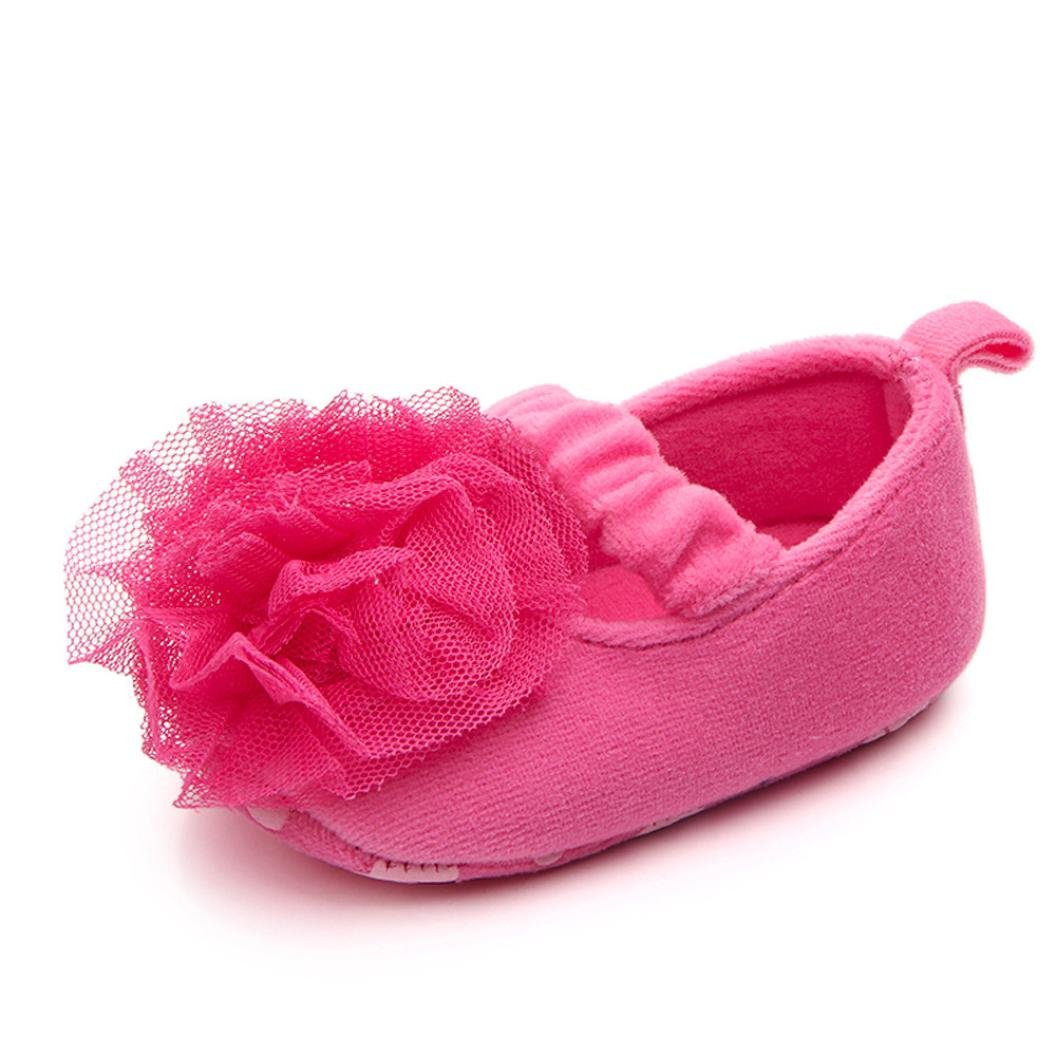 Sunward Toddler Baby Girls 3D Flower Moccasins Anti-Slip Soft Sole Princess Shoes