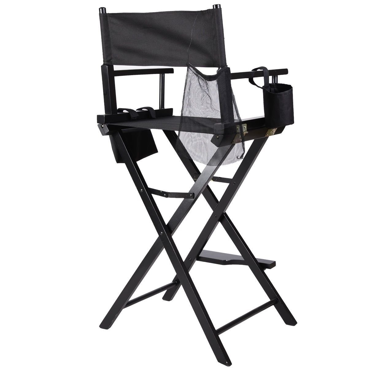 Black Foldable Professional Makeup Artist Directors Chair w/ Storage Side Bags