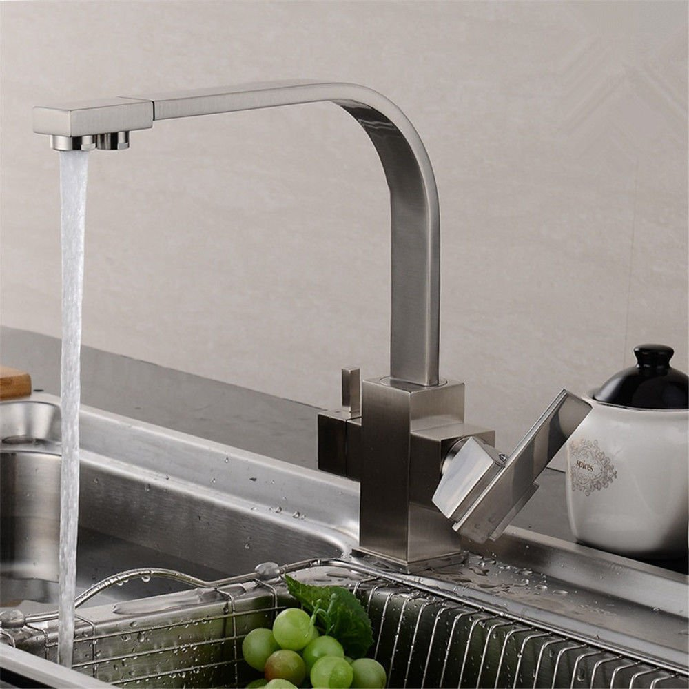 E NewBorn Faucet Kitchen Or Bathroom Sink Mixer Tap Water Tap Full Copper Cold-Hot Tank Water Taps With Pure Water Dish Washing Basin To redate The Oatmeal color Direct Drinking Water Water Tap E