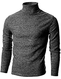 Ohoo Mens Slim Fit Soft Cotton Blend Turtleneck Pullover Sweater