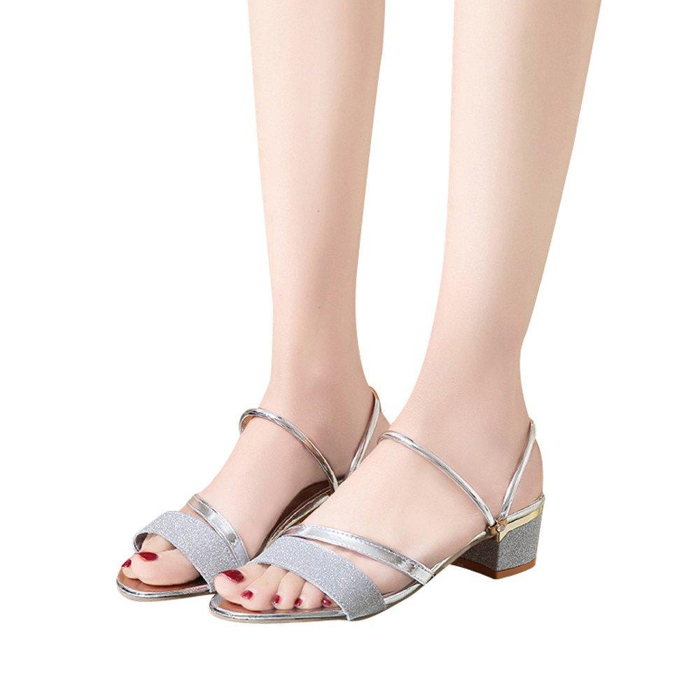 Sumen Women Fashion Flare Sequins Sandals Ankle Mid Heel Block Party Open Toe Flip Flop