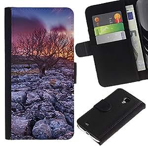 Stuss Case / Funda Carcasa PU de Cuero - Árbol de la puesta del sol del desierto - Samsung Galaxy S4 Mini i9190
