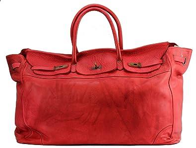 c2ca69bf7d841 BZNA Bag Bella Rot rosso XXL vintage Italy Designer Big Weekender Wochenend  Business Tasche Ledertasche Tasche