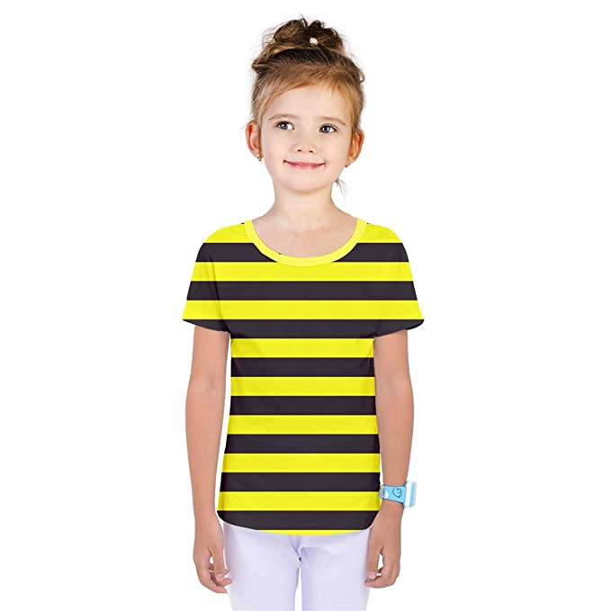 7e3815a9de QC Big Girls' Bumble Bee Yellow Black Stripes Full Print T-Shirt Tee ...